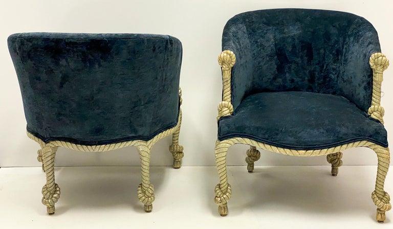 20th Century 1960s Hollywood Regency Italian Gilt and Tassel Velvet Tub Chairs, a Pair For Sale