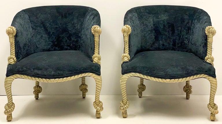 1960s Hollywood Regency Italian Gilt and Tassel Velvet Tub Chairs, a Pair For Sale 1
