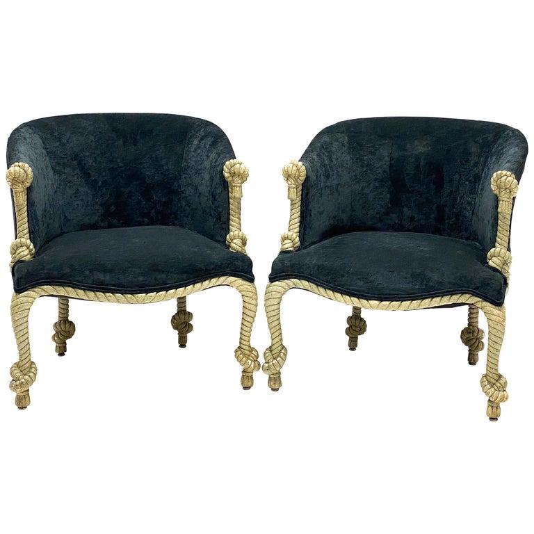 1960s Hollywood Regency Italian Gilt and Tassel Velvet Tub Chairs, a Pair For Sale