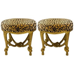 1960s Hollywood Regency Leopard Velvet Giltwood Italian Rope Ottomans, a Pair