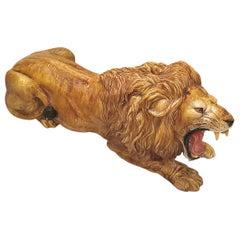 1960s Hollywood Regency Terra Cotta Majolica Lion