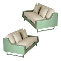 1960s Homecrest Sage Fiberglass Outdoor Sofas, a Pair