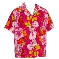 1960S Hot Pink Cotton Barkcloth Men's Hawaiian Tropical Print Shirt