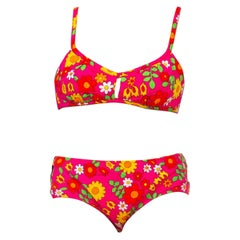 1960S Hot Pink Mod Floral Cotton Bark Cloth Swimsuit