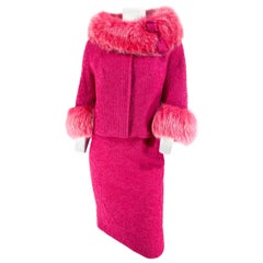 1960s Hot Pink Mohair and Fox Suit
