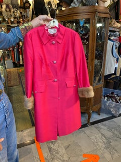 1960s Hot Pink Raw Silk Dress with Matching Coat
