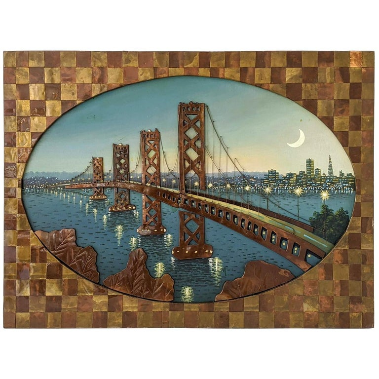 1960s Huge Brass and Copper 3D Wall Art with a Painting of the Bay Bridge, USA For Sale