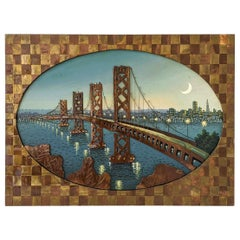 1960s Huge Brass and Copper Wall Art with a Painting of the Bay Bridge, USA