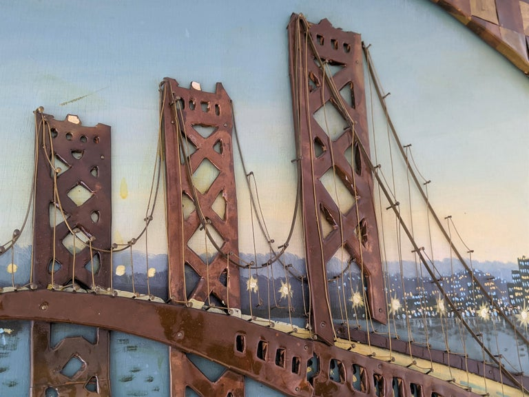 1960s Huge Brass and Copper 3D Wall Art with a Painting of the Bay Bridge, USA For Sale 4