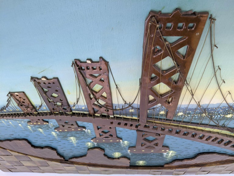 1960s Huge Brass and Copper 3D Wall Art with a Painting of the Bay Bridge, USA For Sale 9