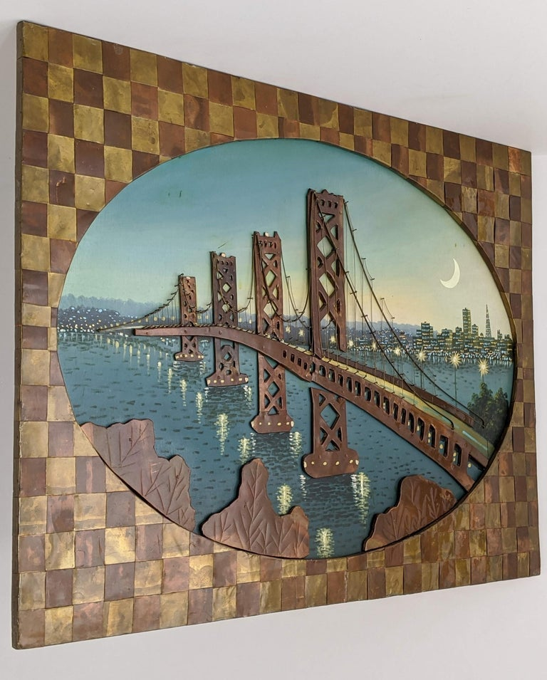 Mid-Century Modern 1960s Huge Brass and Copper 3D Wall Art with a Painting of the Bay Bridge, USA For Sale