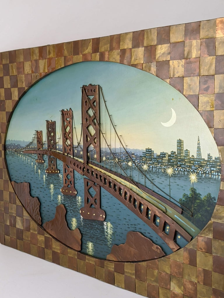 1960s Huge Brass and Copper 3D Wall Art with a Painting of the Bay Bridge, USA In Good Condition For Sale In St- Leonard, Quebec