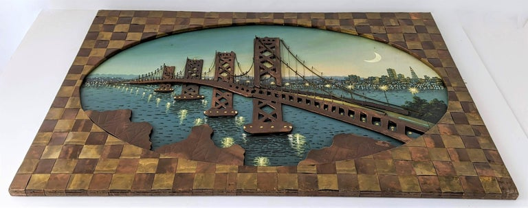 Mid-20th Century 1960s Huge Brass and Copper 3D Wall Art with a Painting of the Bay Bridge, USA For Sale