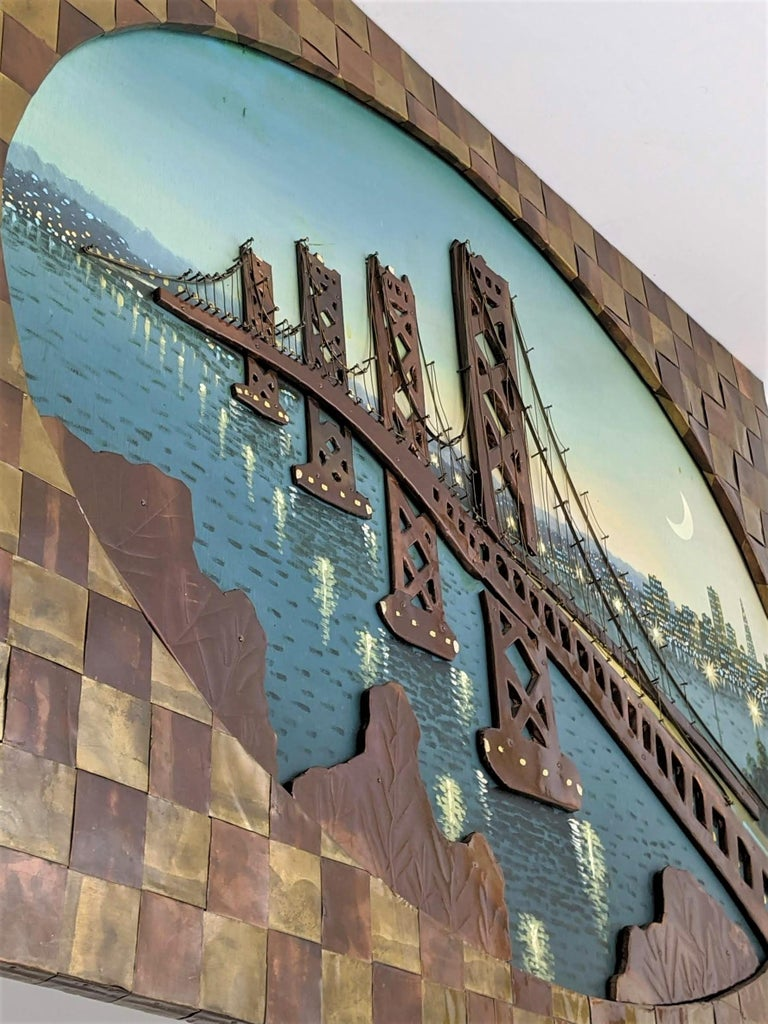 1960s Huge Brass and Copper 3D Wall Art with a Painting of the Bay Bridge, USA For Sale 1
