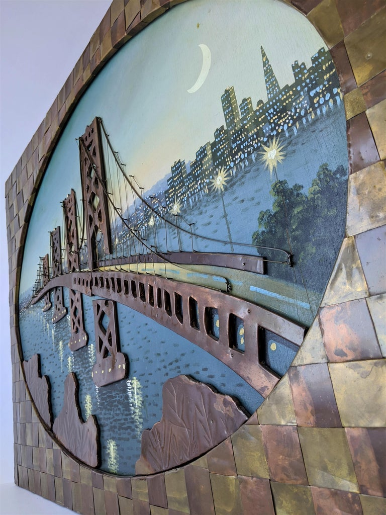 1960s Huge Brass and Copper 3D Wall Art with a Painting of the Bay Bridge, USA For Sale 3