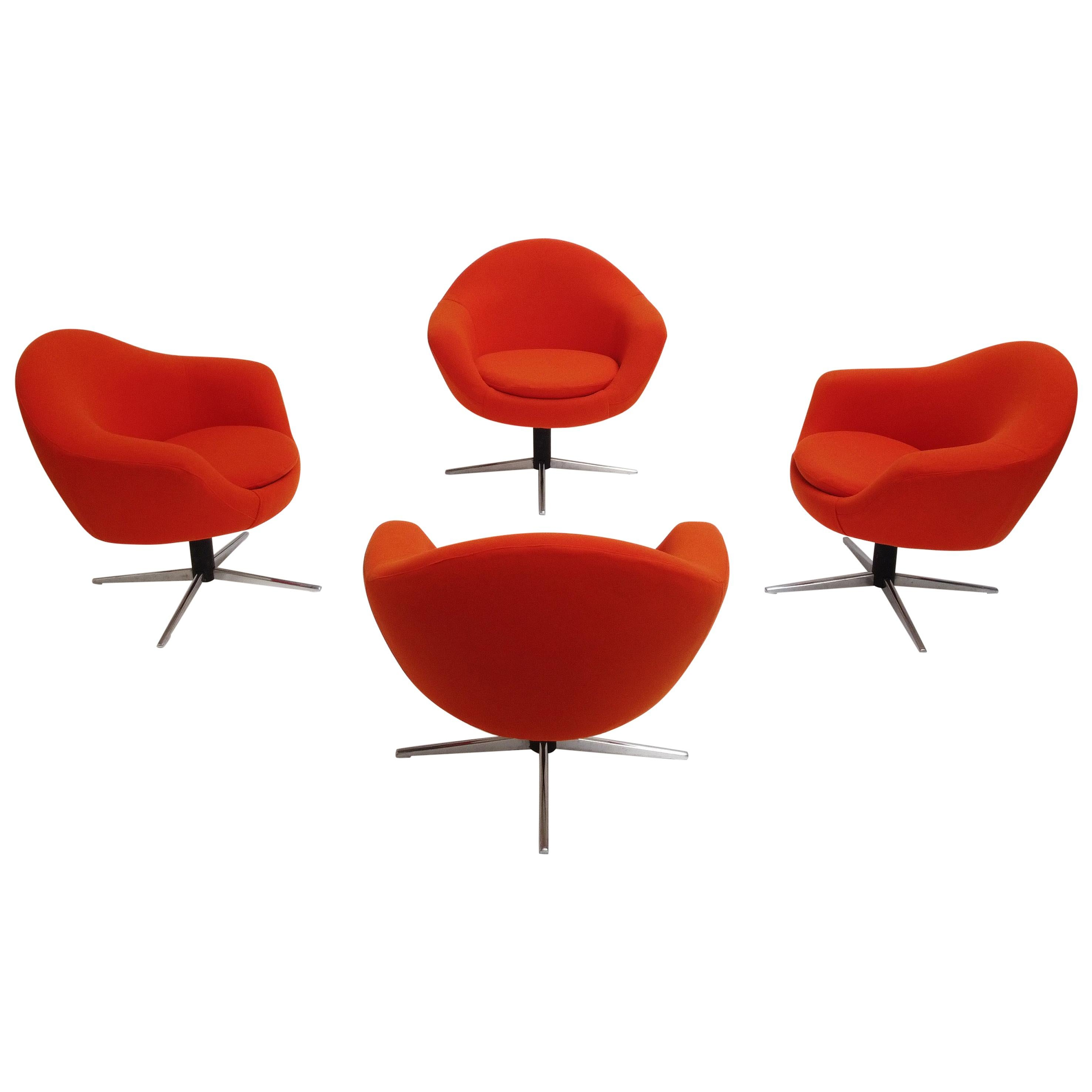 1960s Hungarian Space Age Swiveling Lounge Chairs New Orange Stretch Fabric