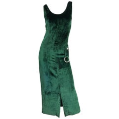 1960s Hunter Forest Green Silk Velvet Rhinestone Vintage 60s Gown Maxi Dress