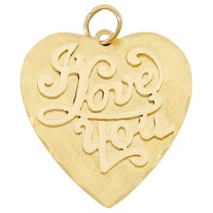 1960s I Love You 14K Yellow Gold Vintage Heart Charm Or Pendant Jo-Di New York