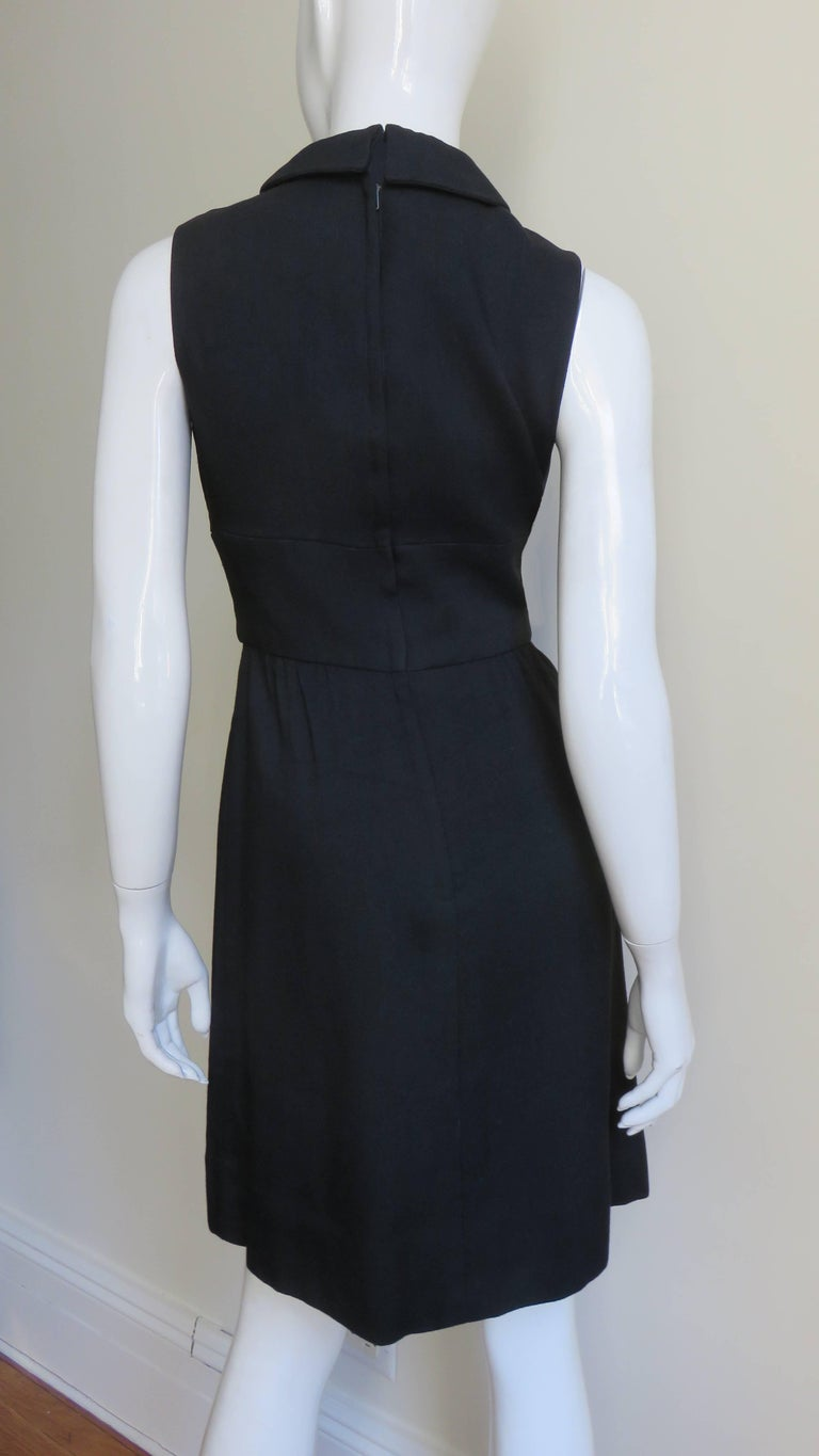 1960s I Magnin And Co Linen Dress With Cutout Waist For