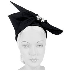 1960s I. Magnin Black Silk Fashion Pillbox Hat