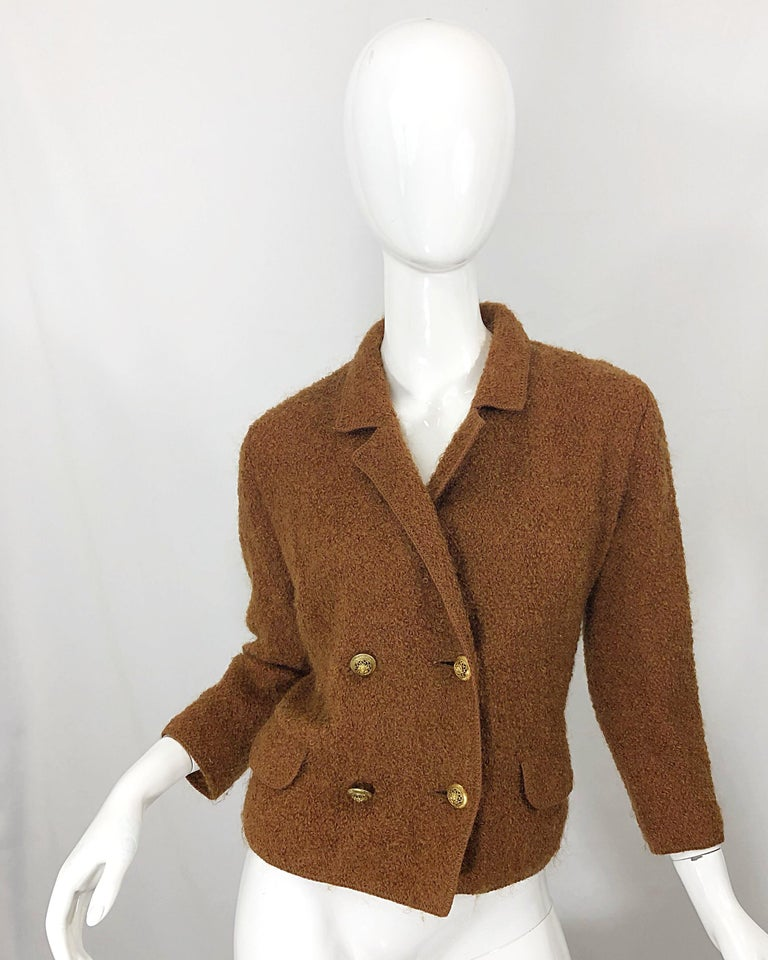 1960s I Magnin Couture Mohair Tobacco Rust Brown Vintage 60s Skirt + Blazer Suit For Sale 6