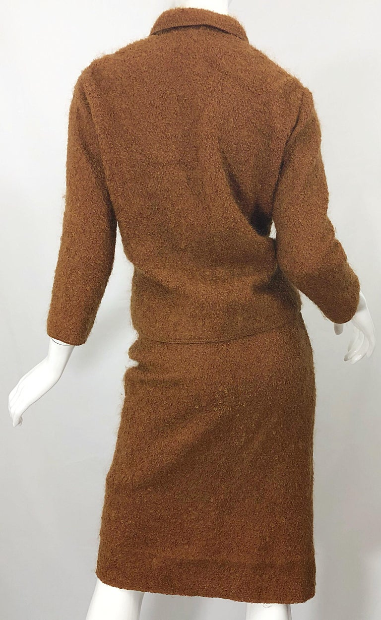1960s I Magnin Couture Mohair Tobacco Rust Brown Vintage 60s Skirt + Blazer Suit For Sale 7