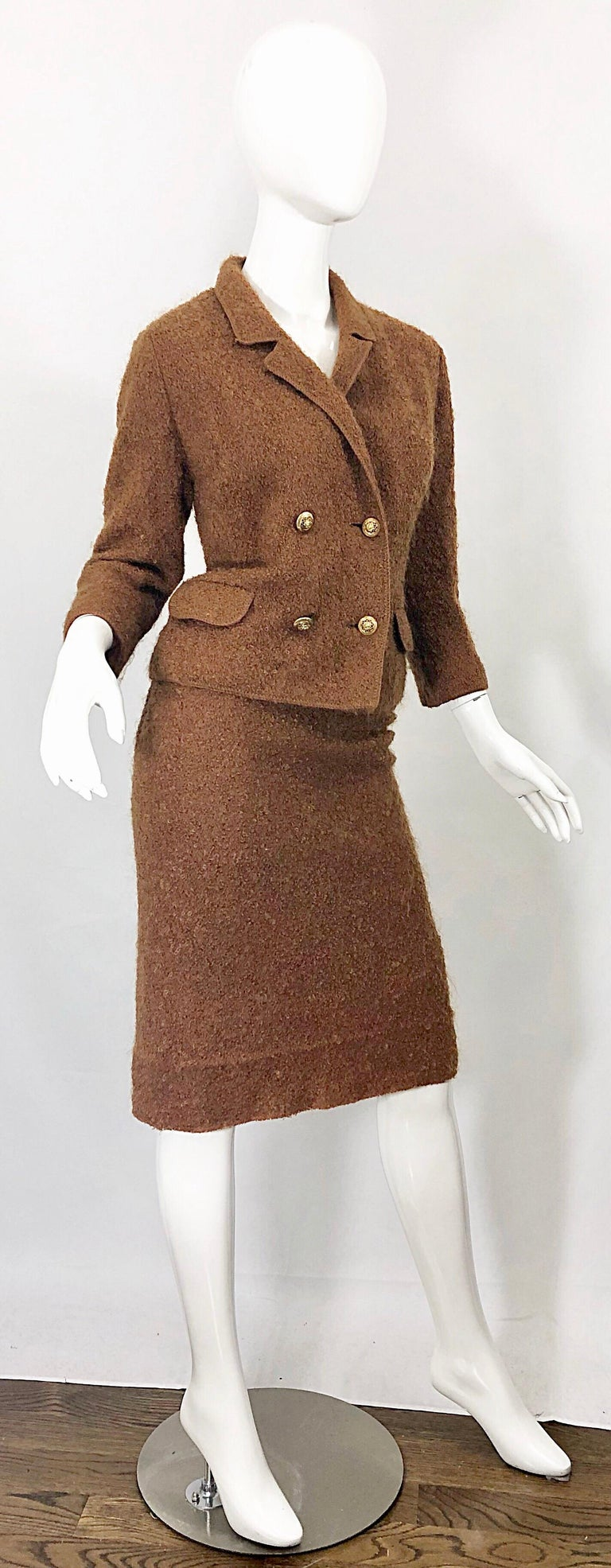 1960s I Magnin Couture Mohair Tobacco Rust Brown Vintage 60s Skirt + Blazer Suit For Sale 8