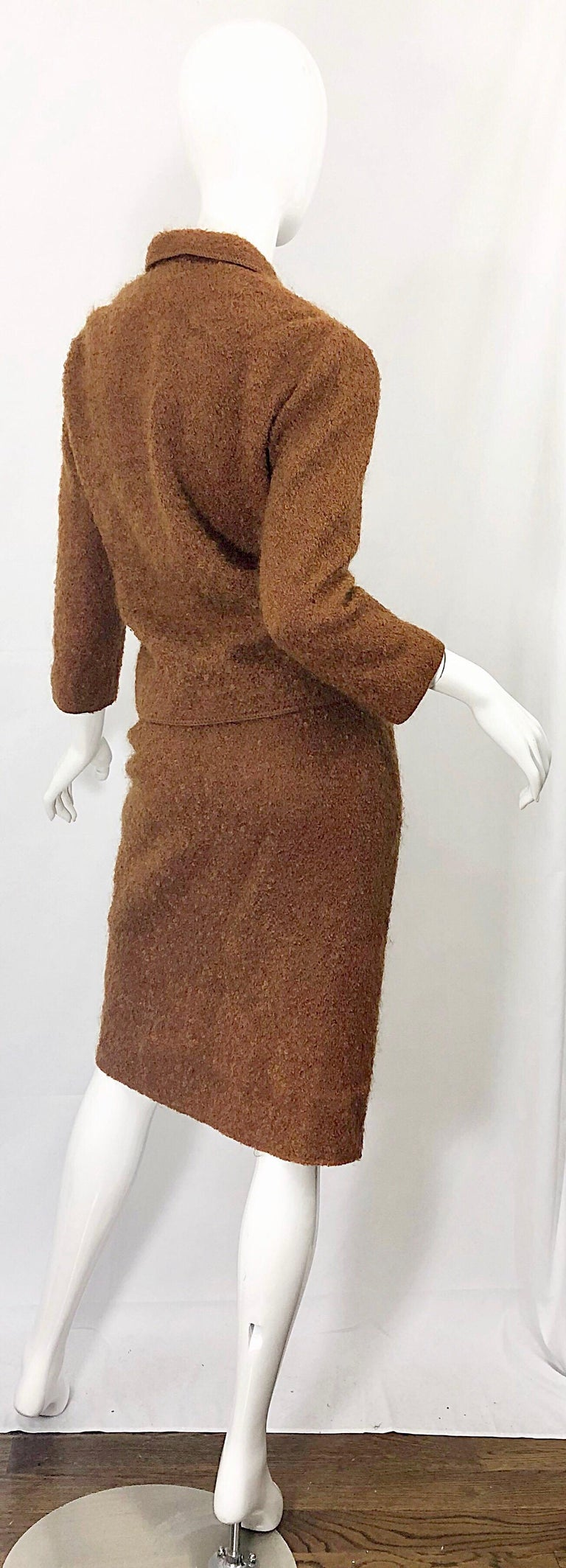 1960s I Magnin Couture Mohair Tobacco Rust Brown Vintage 60s Skirt + Blazer Suit For Sale 9