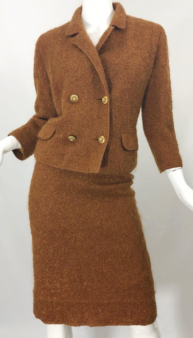 1960s I Magnin Couture Mohair Tobacco Rust Brown Vintage 60s Skirt + Blazer Suit In Excellent Condition For Sale In Chicago, IL