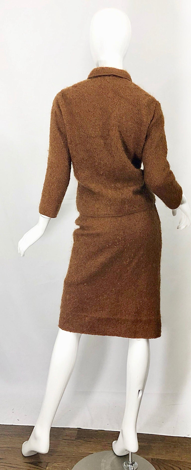 Women's 1960s I Magnin Couture Mohair Tobacco Rust Brown Vintage 60s Skirt + Blazer Suit For Sale