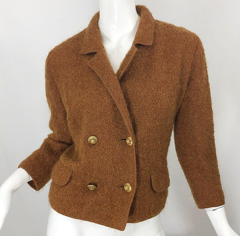1960s I Magnin Couture Mohair Tobacco Rust Brown Vintage 60s Skirt + Blazer Suit For Sale 1