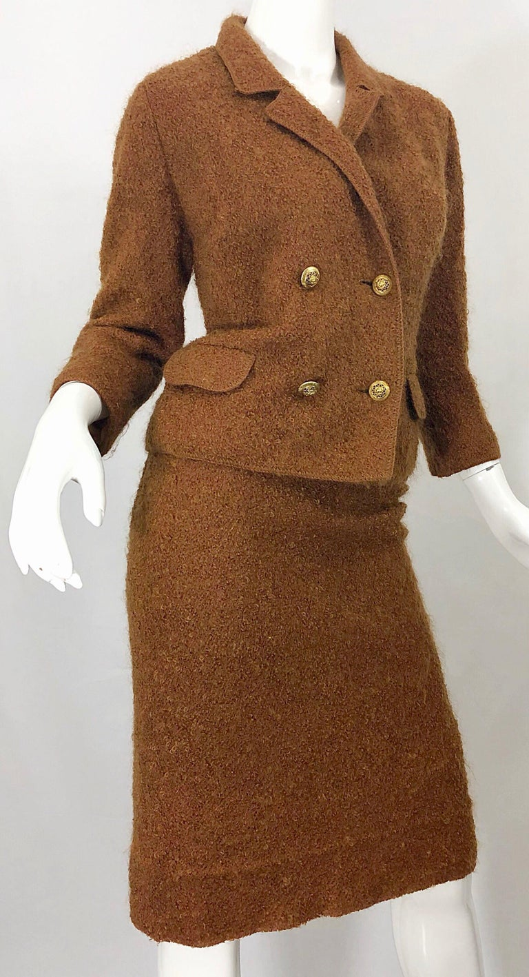 1960s I Magnin Couture Mohair Tobacco Rust Brown Vintage 60s Skirt + Blazer Suit For Sale 2