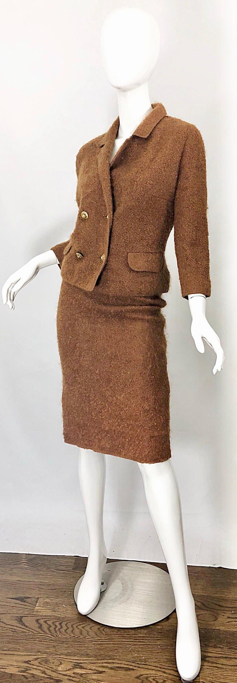 1960s I Magnin Couture Mohair Tobacco Rust Brown Vintage 60s Skirt + Blazer Suit For Sale 3