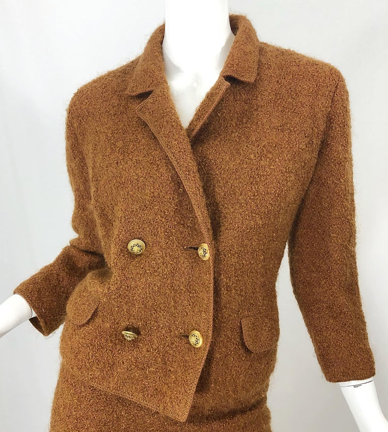 1960s I Magnin Couture Mohair Tobacco Rust Brown Vintage 60s Skirt + Blazer Suit For Sale 4