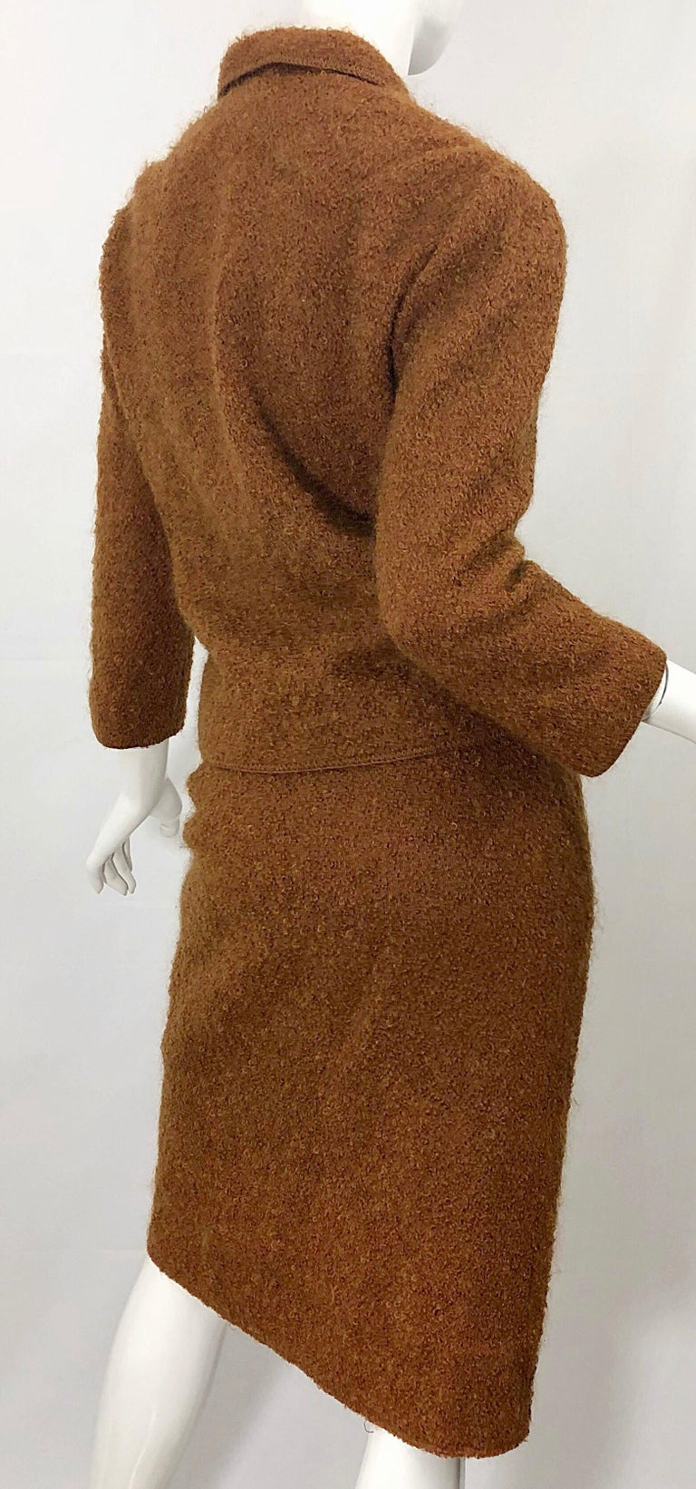 1960s I Magnin Couture Mohair Tobacco Rust Brown Vintage 60s Skirt + Blazer Suit For Sale 5