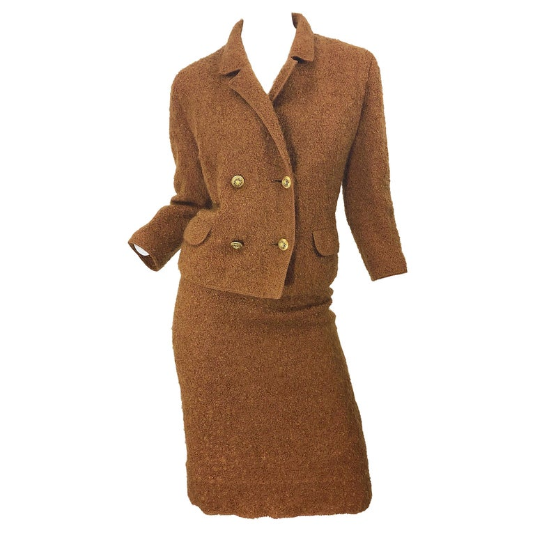 1960s I Magnin Couture Mohair Tobacco Rust Brown Vintage 60s Skirt + Blazer Suit For Sale