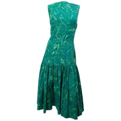 1960's I. Magnin Green Marble Dress