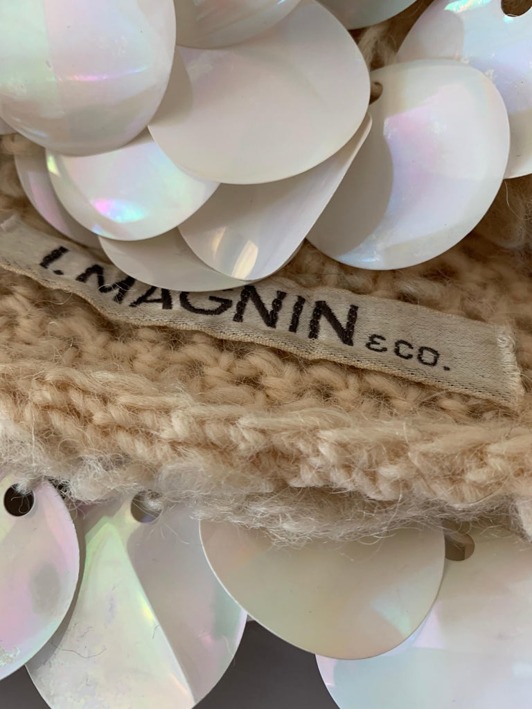1960s I. Magnin Italian Made Cream Paillette Wool Crochet Peaked Hat For Sale 6
