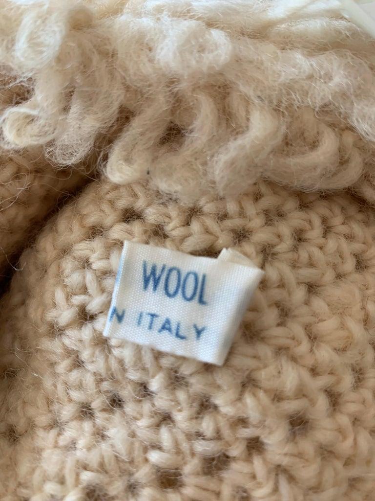 1960s I. Magnin Italian Made Cream Paillette Wool Crochet Peaked Hat For Sale 8