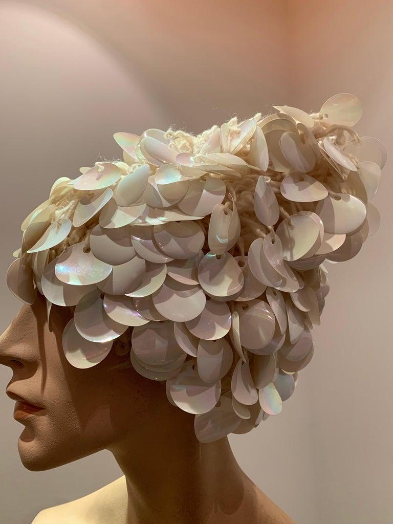 Women's 1960s I. Magnin Italian Made Cream Paillette Wool Crochet Peaked Hat For Sale
