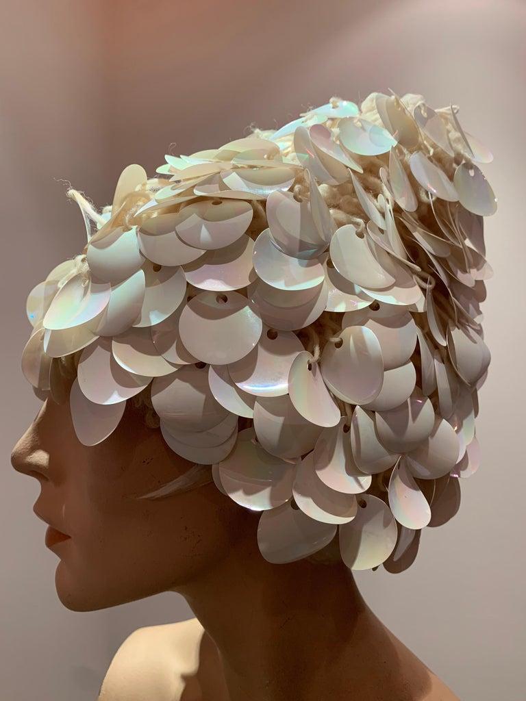 1960s I. Magnin Italian Made Cream Paillette Wool Crochet Peaked Hat For Sale 2