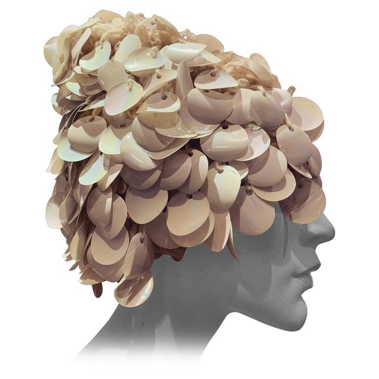 1960s I. Magnin Italian Made Cream Paillette Wool Crochet Peaked Hat For Sale