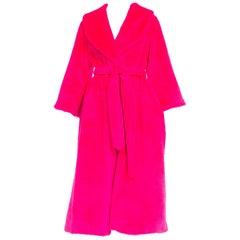 1960's I Magnin Neon Hot Pink Faux fur Wrap Coat