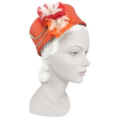 1960s I. Magnin Orange Pillbox Hat with Floral and Seashell Accents
