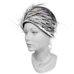1960's I. Magnin Turban With Iridescent Sequin and Horsehair