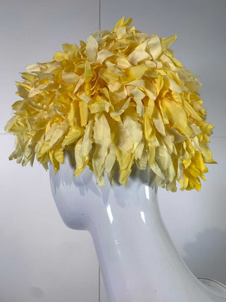 Brown 1960s I. Magnin Yellow and White Floral Petal Millinery Turban  Hat  For Sale