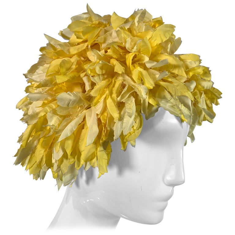 1960s I. Magnin Yellow and White Floral Petal Millinery Turban  Hat  For Sale