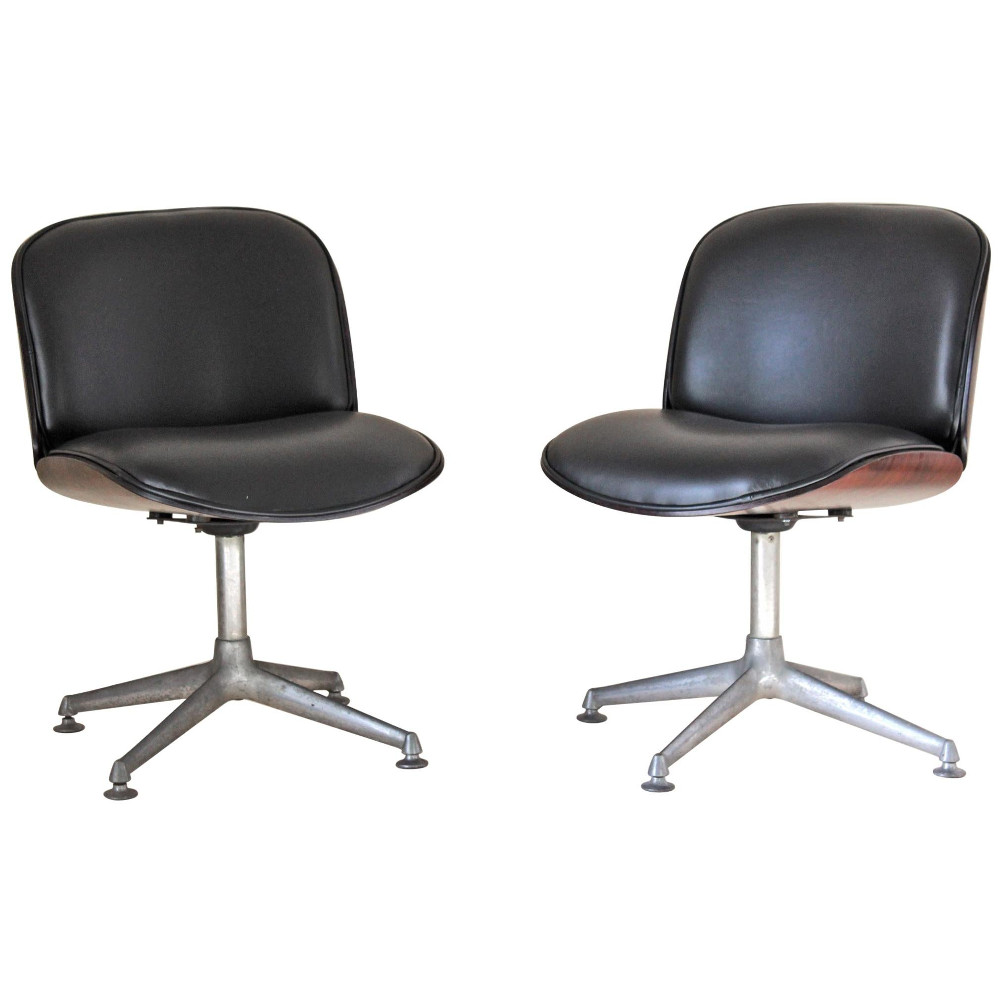 1960s Desk vintage Armchairs,  Ico Parisi for Mim Roma Set of Two