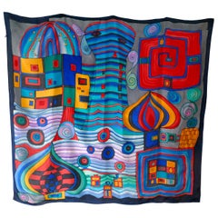 1960s Ideen Vintage Retro Silk Scarf, Psychedelic Vibrant Abstract by Monique