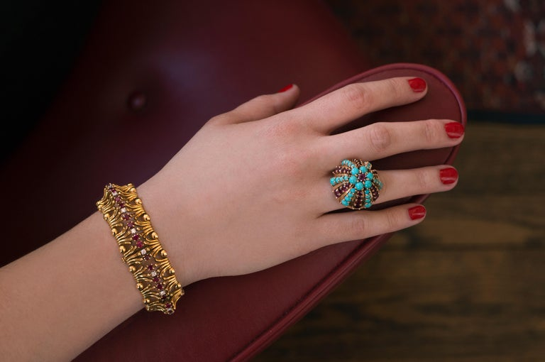 1960s Illario, Ruby, Turquoise and Gold Ring In Excellent Condition In New York, NY